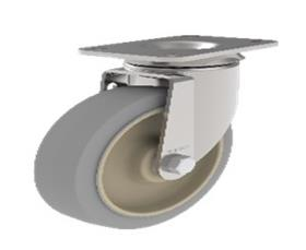 CASTERS WITH POLYPROPYLENE AND RUBBER WHEELS